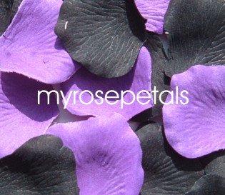 Petals - 200 Wedding Silk Rose Flower Petals Wedding Favors - Black & Purple