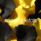 Petals - 200 Wedding Silk Rose Flower Petals Wedding Favors - Black & Yellow