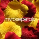 Petals - 200 Wedding Silk Rose Flower Petals Wedding Favors - Burgundy & Yellow