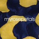 Petals - 200 Wedding Silk Rose Flower Petals Wedding Favors - Navy Blue & Yellow