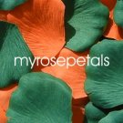 Petals - 200 Wedding Silk Rose Flower Petals Wedding Favors - Orange & Hunter Green