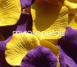 Petals - 200 Wedding Silk Rose Flower Petals Wedding Favors - Purple & Yellow
