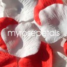 Petals - 200 Wedding Silk Rose Flower Petals Wedding Favors - Red & White