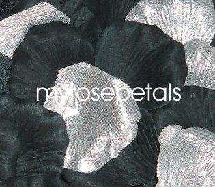 Petals - 200 Wedding Silk Rose Flower Petals Wedding Favors - Silver & Black