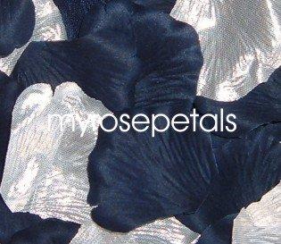 Petals - 200 Wedding Silk Rose Flower Petals Wedding Favors - Silver & Navy Blue