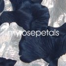 Petals - 200 Wedding Silk Rose Flower Petals Wedding Favors - Silver & Navy Blue