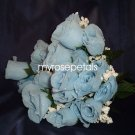 84 Silk Rose Flowers with Raindrops-Wedding Roses Flowers - Powder Blue