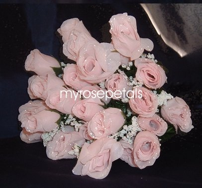 84 Silk Rose Flowers with Raindrops-Wedding Roses Flowers - Pale Pink