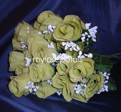 84 Silk Rose Flowers with Raindrops-Wedding Roses Flowers - Sage