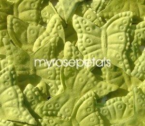 Petals - 1000 Butterfly Shaped Silk Rose Flower Petals Wedding Favors - Lime Green