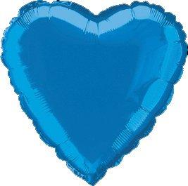 "12 Mylar/Foil Balloons Lot Wedding/Party-Heart- 18"" - Royal Blue"