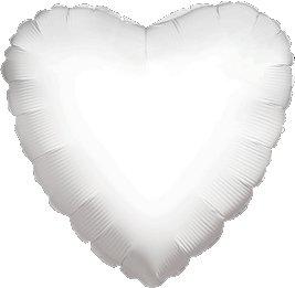 "12 Mylar/Foil Balloons Lot Wedding/Party-Heart- 18"" - White"