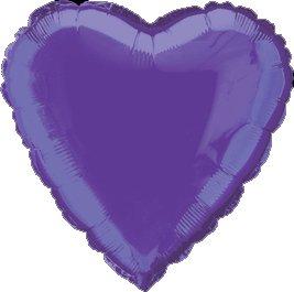 "12 Mylar/Foil Balloons Lot Wedding/Party-Heart- 18"" - Purple"