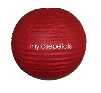 """Party Paper Lantern-Round 12""""-Luau Supplies- Oriental/Chinese Lamps - Red"""