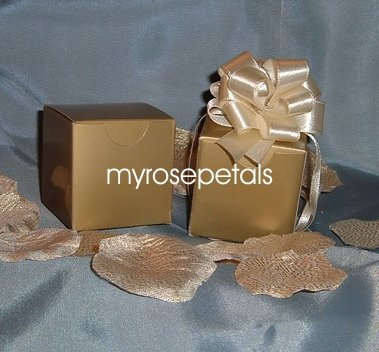 """Glossy Favor Boxes - 2""""x 2"""" x 2"""" Gold - (10 pcs) Wedding/Shower/Party Favors"""
