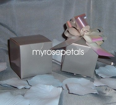 """Glossy Favor Boxes - 2""""x 2"""" x 2"""" Silver - (50 pcs) Wedding/Shower/Party Favors"""