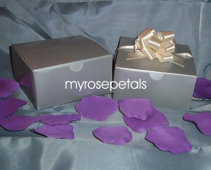 """Glossy Favor Boxes - 4""""x 4"""" x 2"""" Silver - (25 pcs) Wedding/Shower/Party Favors"""