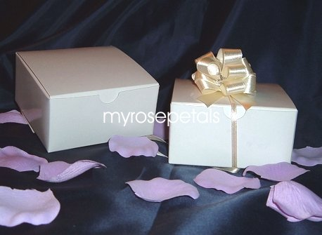 """Glossy Favor Boxes - 4""""x 4"""" x 2"""" White - (25 pcs) Wedding/Shower/Party Favors"""