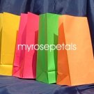 Paper Favor Treat Goody Luau Party Gift Bags - Neon Colors Assorted (10 Bags)