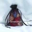 3x4 Mesh Fishnet Wedding Favor Gift Bags/Jewelry Pouches - Black (10 Bags)