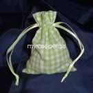 3x4 Cotton Gingham Wedding Favor Gift Bags/Pouches - Green (10 Bags)