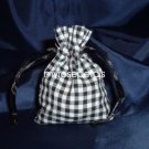 3x4 Cotton Gingham Wedding Favor Gift Bags/Pouches - Black (10 Bags)