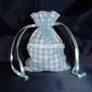 3x4 Cotton Gingham Wedding Favor Gift Bags/Pouches - Light Blue (10 Bags)