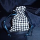 3x4 Cotton Gingham Wedding Favor Gift Bags/Pouches - Navy Blue (10 Bags)