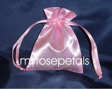 """Satin Wedding Favor Bags/Pouches - 3""""x4"""" - Pink (10 Bags)"""