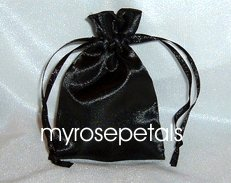 "Satin Wedding Favor Bags/Pouches - 3""x4"" - Black (10 Bags)"