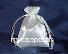 "Satin Wedding Favor Bags/Pouches - 3""x4"" - White (10 Bags)"