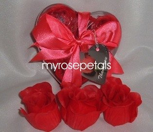 Scented Rose Shaped Soaps in Heart Box - Red - with Satin Ribbon- Wedding Favors