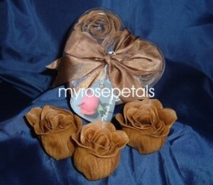 Scented Rose Shaped Soaps in Heart Box - Brown - with Satin Ribbon- Wedding Favors