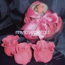Scented Rose Shaped Soaps in Heart Box - Hot Pink - with Satin Ribbon- Wedding Favors