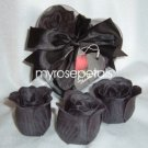 Scented Rose Shaped Soaps in Heart Box - Black (Set of 12)- with Satin Ribbon- Wedding Favors
