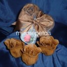 Scented Rose Shaped Soaps in Heart Box - Brown (Set of 12)- with Satin Ribbon- Wedding Favors