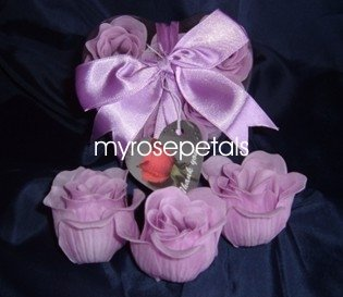 Scented Rose Shaped Soaps in Heart Box - Lavender (Set of 12)- with Satin Ribbon- Wedding Favors