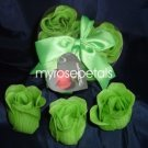 Scented Rose Shaped Soaps in Heart Box - Lime Green (Set of 12)- with Satin Ribbon- Wedding Favors