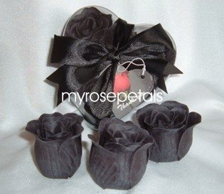 Scented Rose Shaped Soaps in Heart Box - Black (Set of 72)- with Satin Ribbon- Wedding Favors
