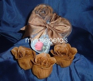 Scented Rose Shaped Soaps in Heart Box - Brown (Set of 72)- with Satin Ribbon- Wedding Favors