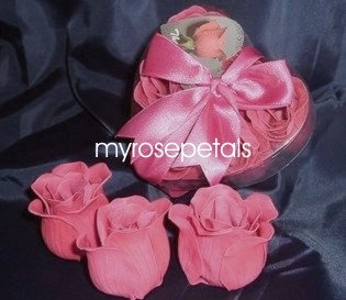 Scented Rose Shaped Soaps in Heart Box - Hot Pink (Set of 72)- with Satin Ribbon- Wedding Favors