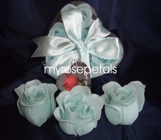 Scented Rose Shaped Soaps in Heart Box - Light Blue (Set of 72)- with Satin Ribbon- Wedding Favors
