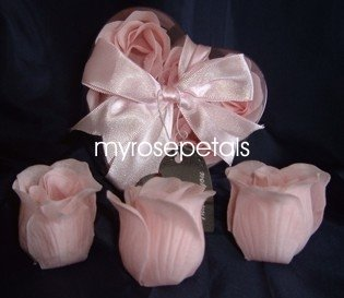 Scented Rose Shaped Soaps in Heart Box - Pink (Set of 72)- with Satin Ribbon- Wedding Favors