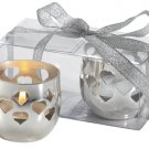 6 Sets of 2 Silver plated Candle Holders with heart cut outs in PVC Box & Ribbon