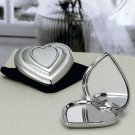 Favors: Chrome Heart Compact Mirror in velvet pouch - Wedding Favor / Wedding Party Supplies