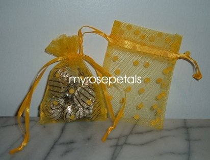 3x4 Tulle Polka Dots Wedding Favor Gift Bags/Pouches - Golden Yellow (10 Bags)