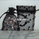 3x4 Tulle Polka Dots Wedding Favor Gift Bags/Pouches - Black (10 Bags)