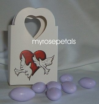 Favor Boxes - White with Red Heart & Doves - (100 pcs) Wedding/Shower/Party Favors