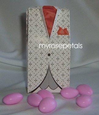 Favor Boxes - Tuxedo Red/White Design - (100 pcs) Wedding/Shower/Party Favors