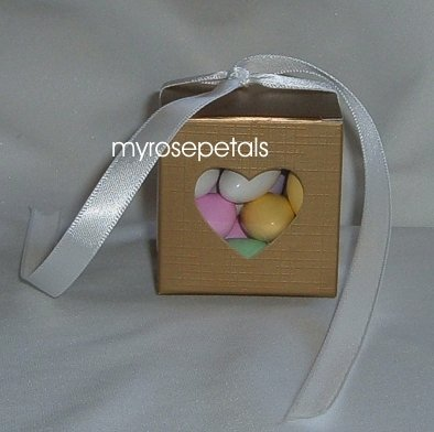 Favor Boxes - Transparent Heart - Gold - (100 pcs) Wedding/Shower/Party Favors